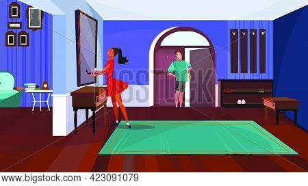 Lady Standing In Front Of Mirror In Corridor Vector Illustration. Man Waiting For Girlfriend At Open