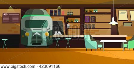Loft Cafe With Unique Design Vector Illustration. Train Front View In Wall With Bar Shelves. Comfort
