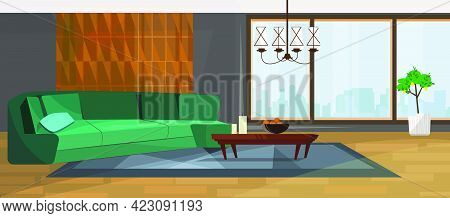 Luxurious Living Room With Panoramic Window Vector Illustration. Modern Room With Green Sofa And Sty
