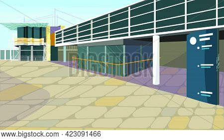 Parking Lot For Block House Vector Illustration. Modern Parking Garage With Banner Outdoors. City Co