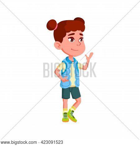 Delighted Little Girl Admiring Lovely Landscapes Cartoon Vector. Delighted Little Girl Admiring Love