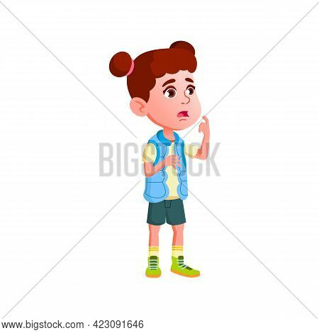 Scared Pale Small Kid Apologizing To Parents Cartoon Vector. Scared Pale Small Kid Apologizing To Pa