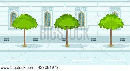Trees In Line On Urban Street. Growing Trees Near City Road. Megapolis Concept. Vector Illustration