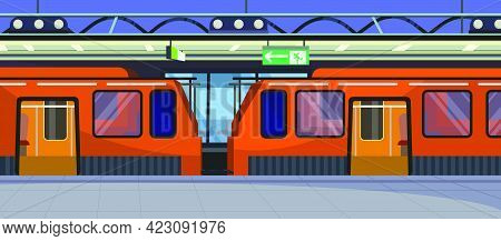 Trains At Railway Station Vector Illustration. Red Trains With Open Doors At Platform. Destination C