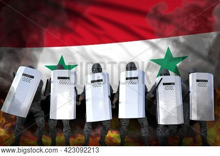 Syrian Arab Republic Protest Stopping Concept, Police Guards In Heavy Smoke And Fire Protecting Law
