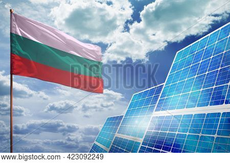 Bulgaria Solar Energy, Alternative Energy Industrial Concept With Flag - Fight With Global Warming -