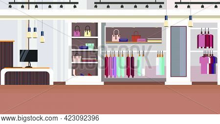 Woman Clothing Store Interior With Checkout Counter, Bags On Shelves And Clothes On Hangers Vector I