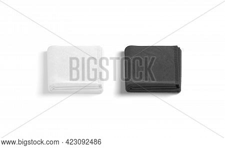 Blaank Blank And White Folded Big Towel Mockup, Front View, 3d Rendering. Empty Home Or Spa Hygiene