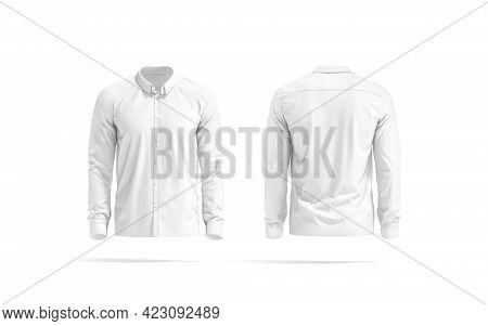 Blank White Classic Shirt Mockup, Front And Back View, 3d Rendering. Empty Cloth Blouse Or Jacket Fo