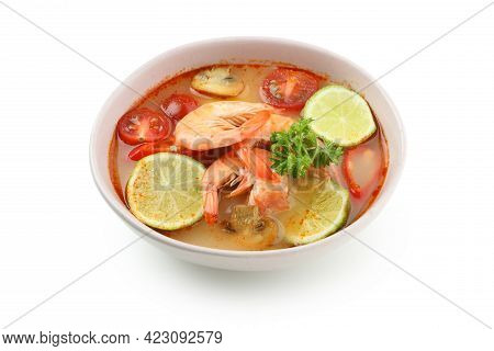 Tasty Tom Yum Soup Isolated On White Background