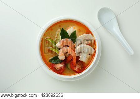 Tasty Tom Yum Soup On White Background