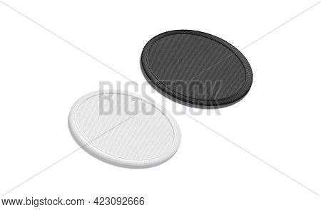 Blank Black And White Round Embroidered Patch Mockup, Side View, 3d Rendering. Empty Onlay Badge For