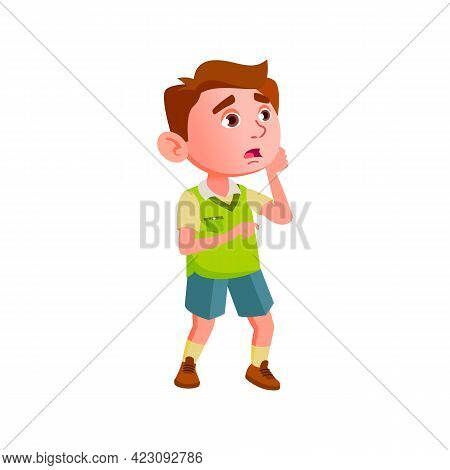 Panic Little Boy Shocking From News In Kindergarten Cartoon Vector. Panic Little Boy Shocking From N