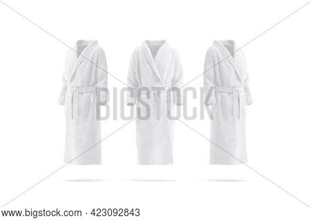 Blank White Hotel Bathrobe Mockup, Front And Side View, 3d Rendering. Empty Soft Backwrap For Bath M