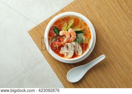 Tasty Tom Yum Soup On Bamboo Mat