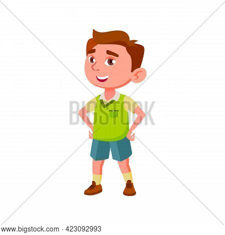 Smiling Boy Elementary School Pupil Answering On Lesson Cartoon Vector. Smiling Boy Elementary Schoo