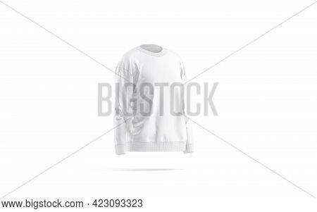 Blank White Women Sweatshirt Mock Up, Side View, 3d Rendering. Empty Long Crewneck Sweat Shirt Mocku