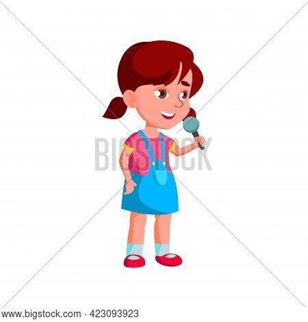 Happy Emotion Little Girl Singing Song In Karaoke Microphone Cartoon Vector. Happy Emotion Little Gi