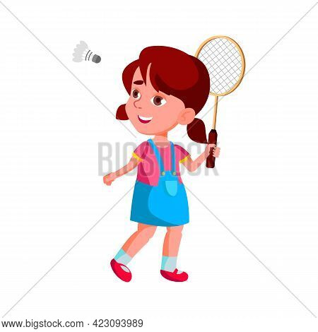 Playful Cute Girl Playing Badminton Game With Shuttlecock Cartoon Vector. Playful Cute Girl Playing
