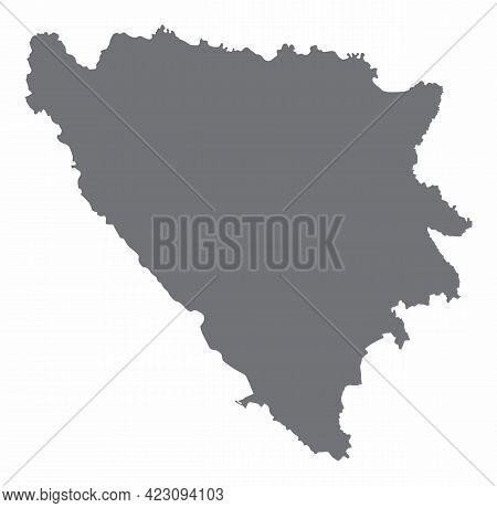 Bosnia And Herzegovina Silhouette Map Isolated On White Background