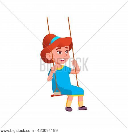 Merry Cute Girl Playing On Swing In Park Cartoon Vector. Merry Cute Girl Playing On Swing In Park Ch