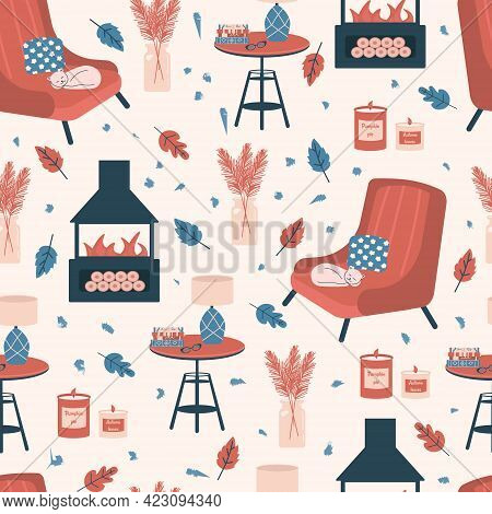 Seamless Pattern With Cozy Room Interior - Armchair, Coffee Table, Plants In Vase, Lamp, Cat,book An