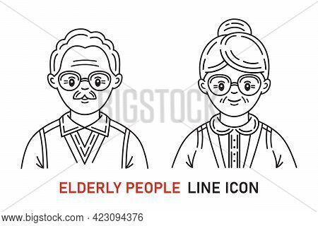 Elderly People, Grandparent Icon Set. Old Man And Woman Face Portrait. Grandfather And Grandmother C