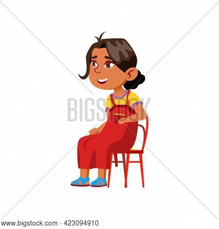 Happy Indian Girl Watch Theatrical Spectacle In Children Theater Cartoon Vector. Happy Indian Girl W