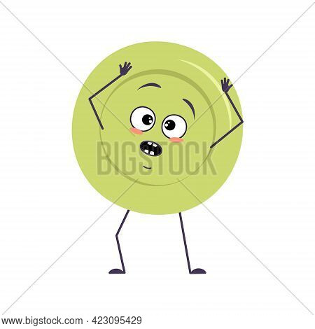 Cute Plate Character With Emotions In A Panic Grabs His Head, Face, Arms And Legs. The Funny Or Sad