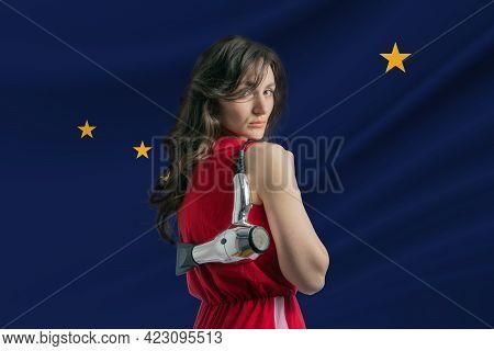 Beauty Industry In Alaska. Happy Female Hairdresser Holding Hairdryer Against Alaska Flag Background