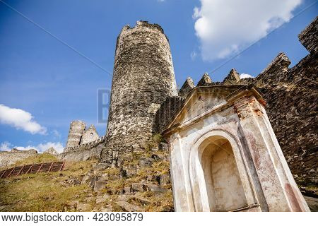 Road To Medieval Gothic Castle Bezdez, Grey Stone Ruin On Hill, Sunny Day, Ancient Fortress Walls, F