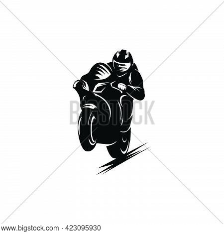 Vector Monochrome Motorcycle Sport Jumping Logo Design In White Background,race,sport,silhouette Tem