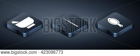 Set Isometric Magic Mortar And Pestle, Magic Hand Mirror And Magic Wand Icon. Vector