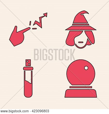 Set Magic Ball, Spell, Witch And Bottle With Love Potion Icon. Vector