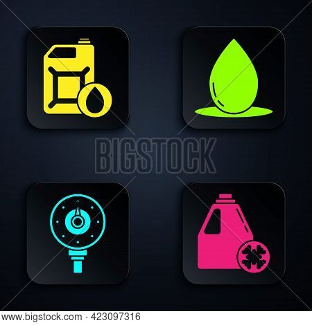 Set Antifreeze Canister, Canister For Motor Machine Oil, Motor Gas Gauge And Oil Drop. Black Square