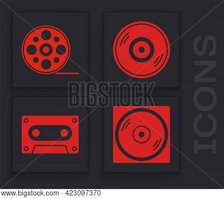 Set Vinyl Disk, Film Reel, Vinyl Disk And Retro Audio Cassette Tape Icon. Vector