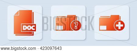 Set Unknown Document Folder, Doc File Document And Add New Folder. White Square Button. Vector