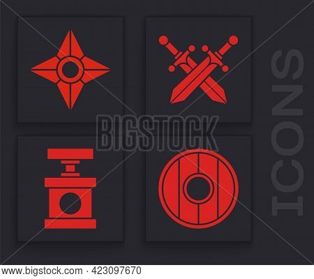 Set Round Wooden Shield, Japanese Ninja Shuriken, Crossed Medieval Sword And Handle Detonator For Dy