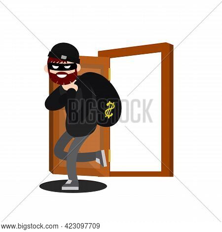 Thief With Bag Of Money. Funny Criminal Man In Black Mask. House And Bank Robbery. Cartoon Flat Illu