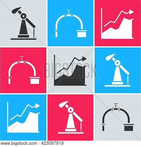 Set Oil Pump Or Pump Jack, Industry Pipe And Valve And Oil Price Increase Icon. Vector