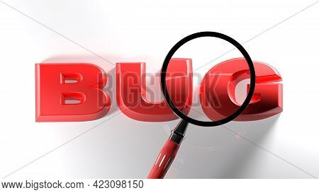 Red Write Bug On White Surface, Under A Magnifier Lens - 3d Rendering Illustration