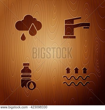 Set Waves Of Water And Evaporation, Cloud With Rain, Bottle And Water Tap On Wooden Background. Vect