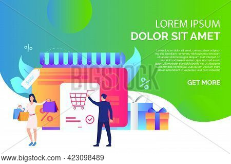 Credit Card With Buyers And Gift Boxes Page Vector Illustration. Online Shop, Consumerism, Retail. S