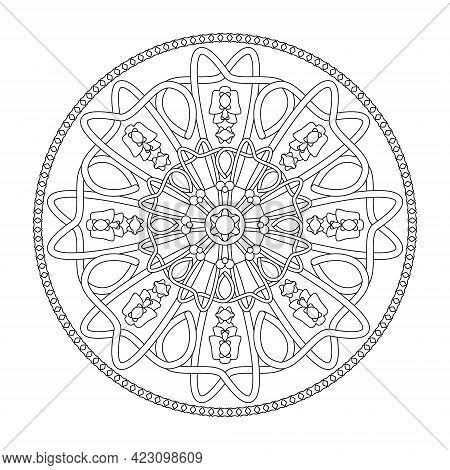 Mandala Coloring Page. Interlaced And Abstract. Art Therapy. Anti-stress. Vector Illustration Black