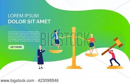 Judgement Service Presentation Illustration. Girls Standing On Scales, Federal Judge Watching On The