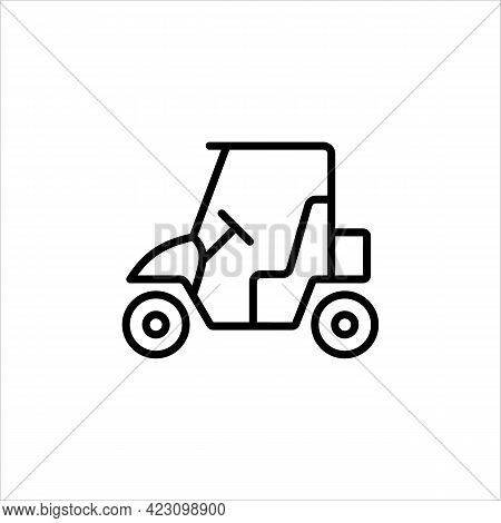 Golf Car Line Icon In A Simple Style. It Moves On Electric Traction. It Is Used To Move Around The G
