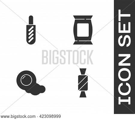 Set Candy, Hotdog Sandwich, Scrambled Eggs And Bag Or Packet Potato Chips Icon. Vector