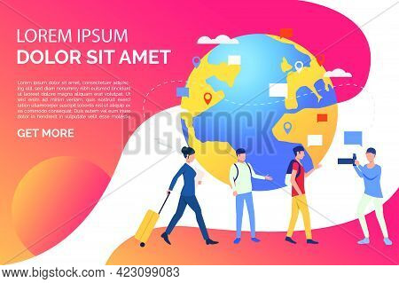 Slide Page With Globe And Travelling People Vector Illustration. Business Travel, Tourism, Destinati