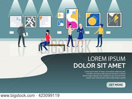 Slide Page With People Visiting Museum Vector Illustration. Art Gallery, Exposition, Exhibition. Art