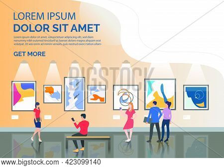 Slide Page With Tourists Looking At Artworks Vector Illustration. Art Gallery, Museum, Exhibition. A